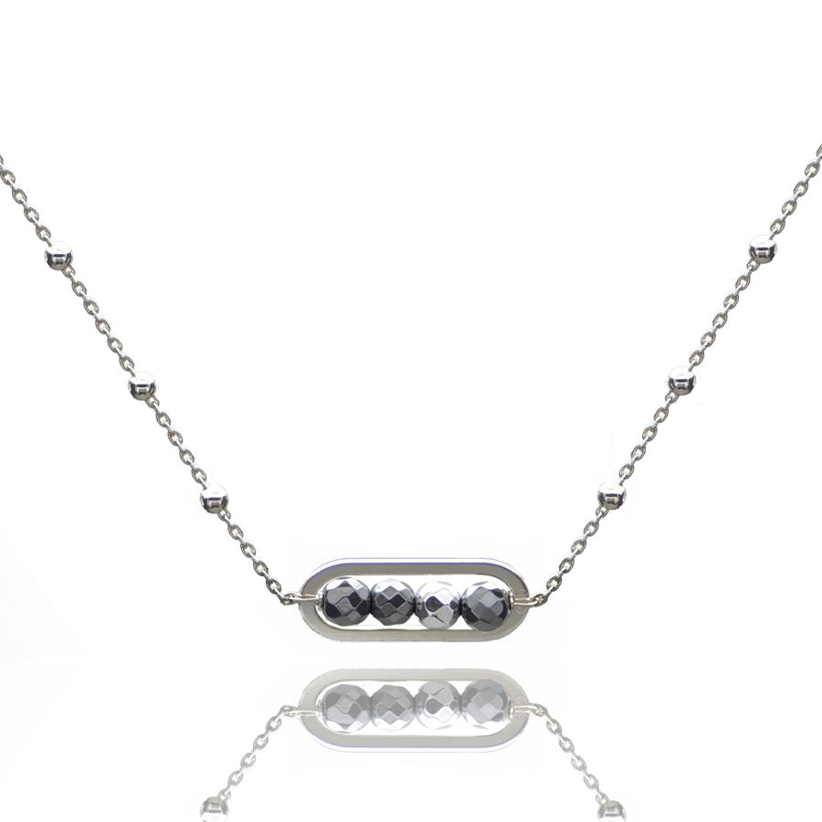 Aglaia bijoux argent pierre collier boules hematite sentiment contraire 1