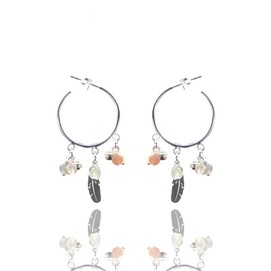 Aglaia bijoux argent pierre boucles oreilles baby creoles automne caprice petillant 1