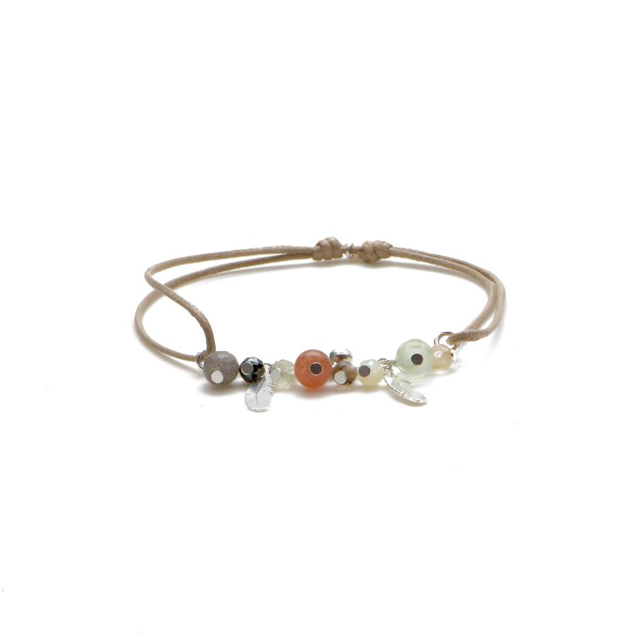 Aglaia bijoux argent pierre bracelet cordon beige caprice petillant automne 1