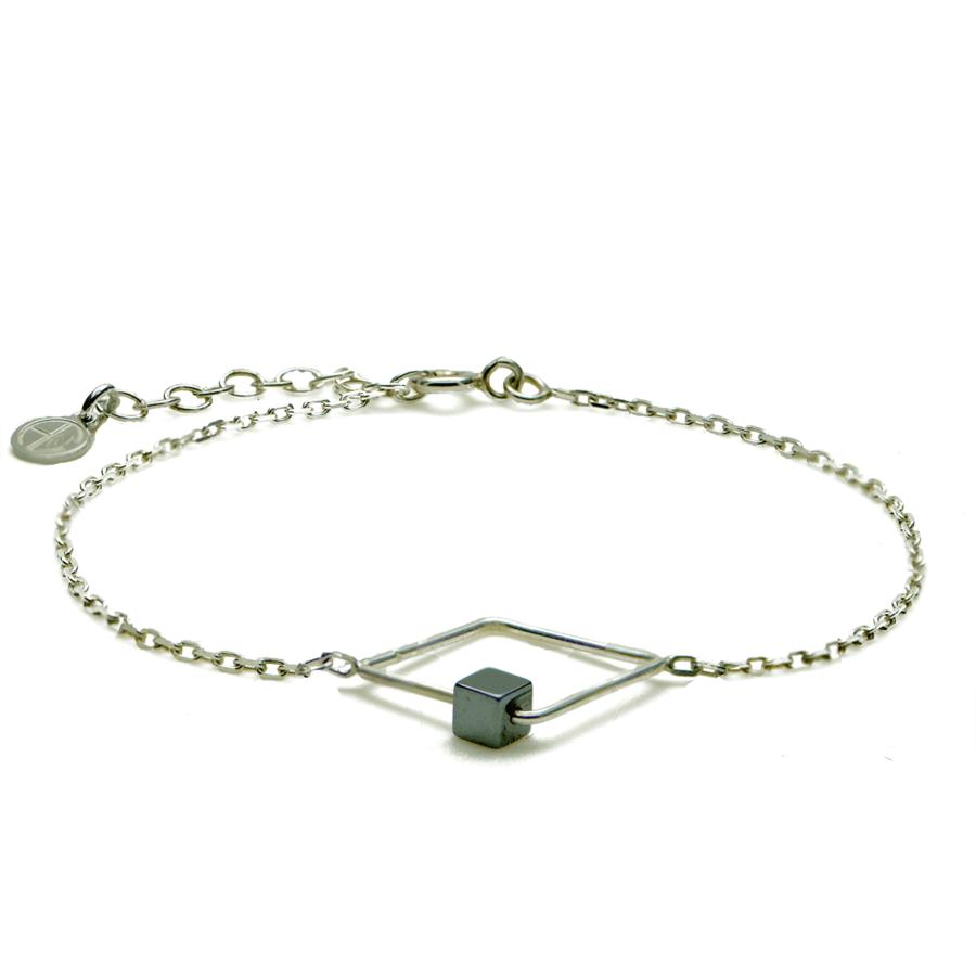 Aglaia bijoux argent pierre bracelet graphique hematite sentiment contraire 1