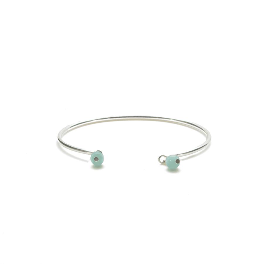 Aglaia bijoux argent pierre bracelet jonc aigue marine elegance eternelle 1