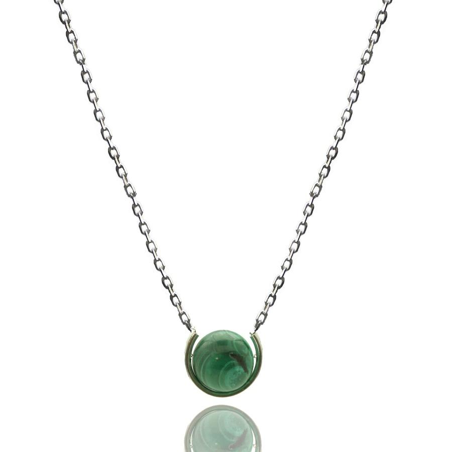 Aglaia bijoux argent pierre sautoir malachite elegance eternelle 1