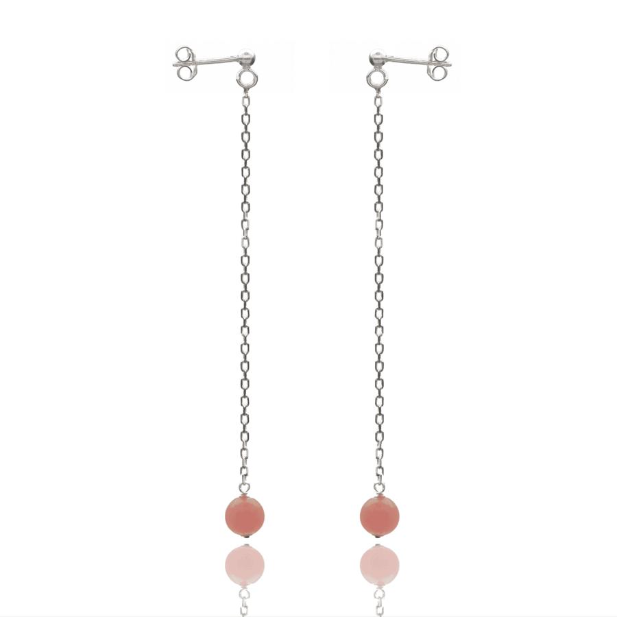 Aglaia bijoux argent pierre boucles oreilles pendant rhodocrosite elegance eternelle 1