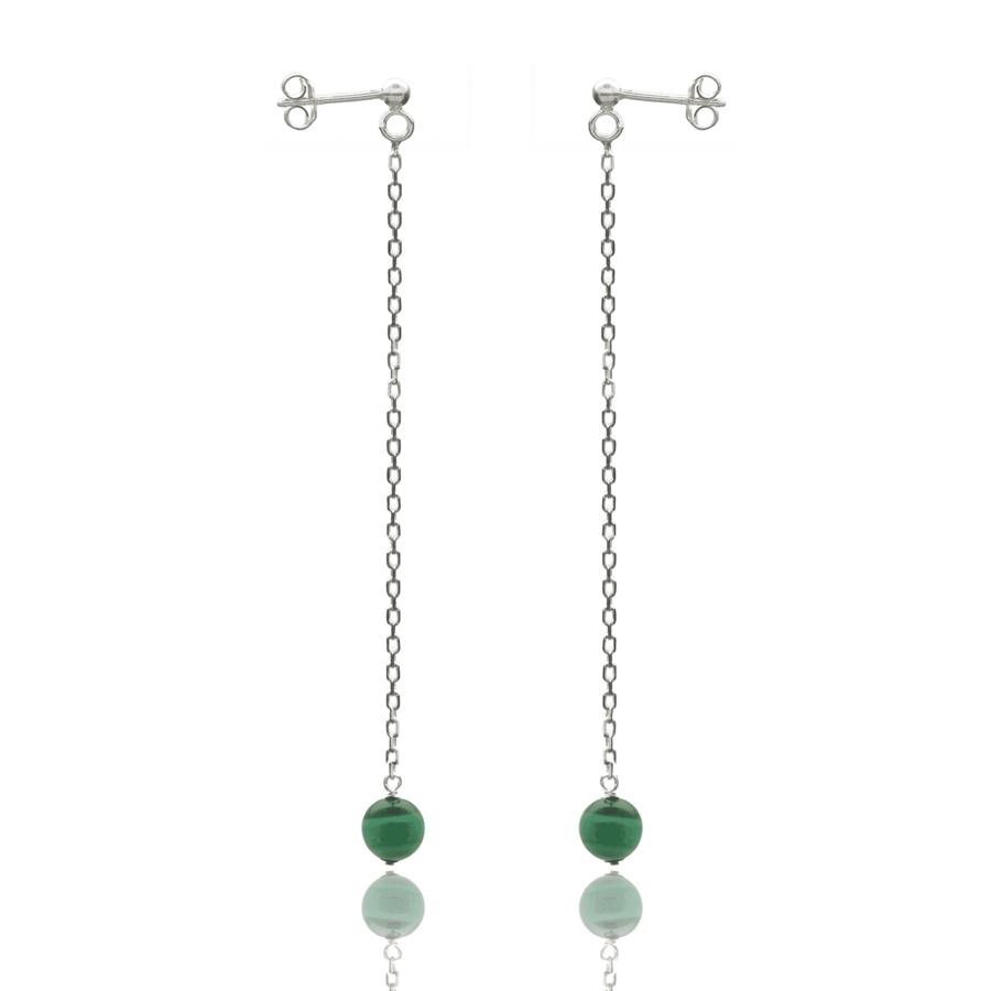 Aglaia bijoux argent pierre boucles oreilles pendant malachite eternelle 1