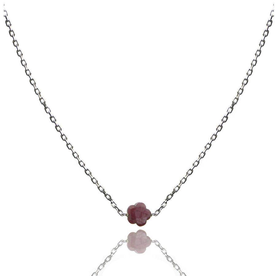 Aglaia bijoux argent pierre collier rubis flower 1