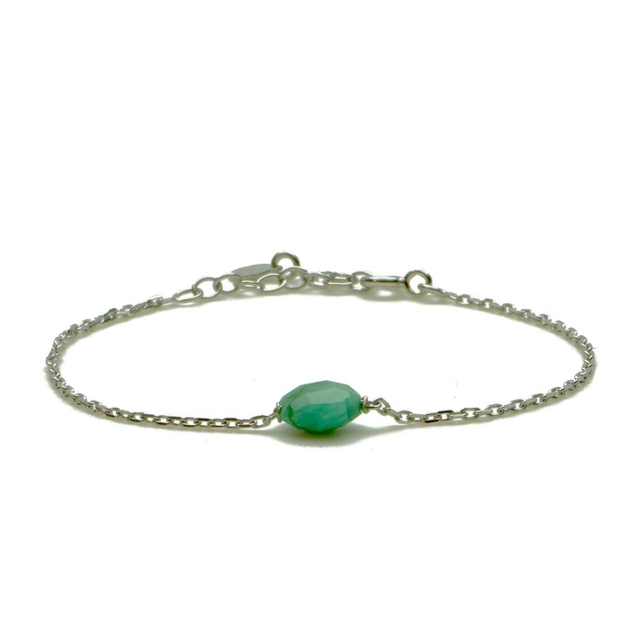 Aglaia bijoux argent pierre bracelet emeraude flower 1