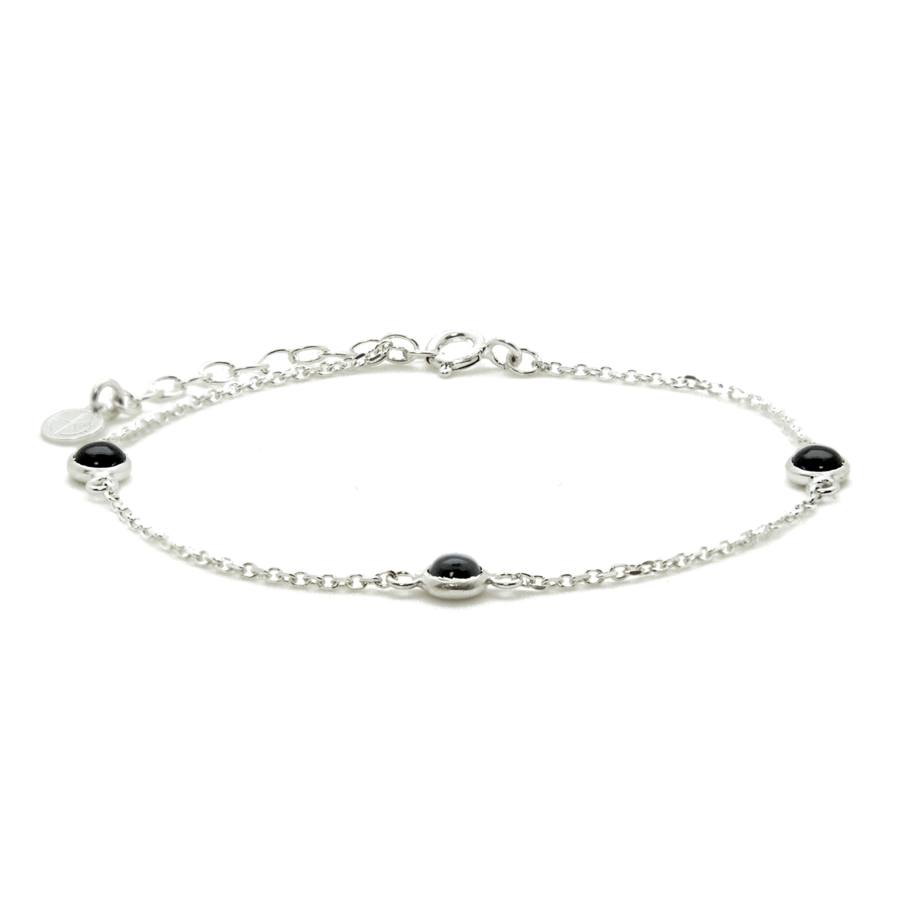 Bracelet argent bijoux pierre onyx liberty fixe aglaiaco