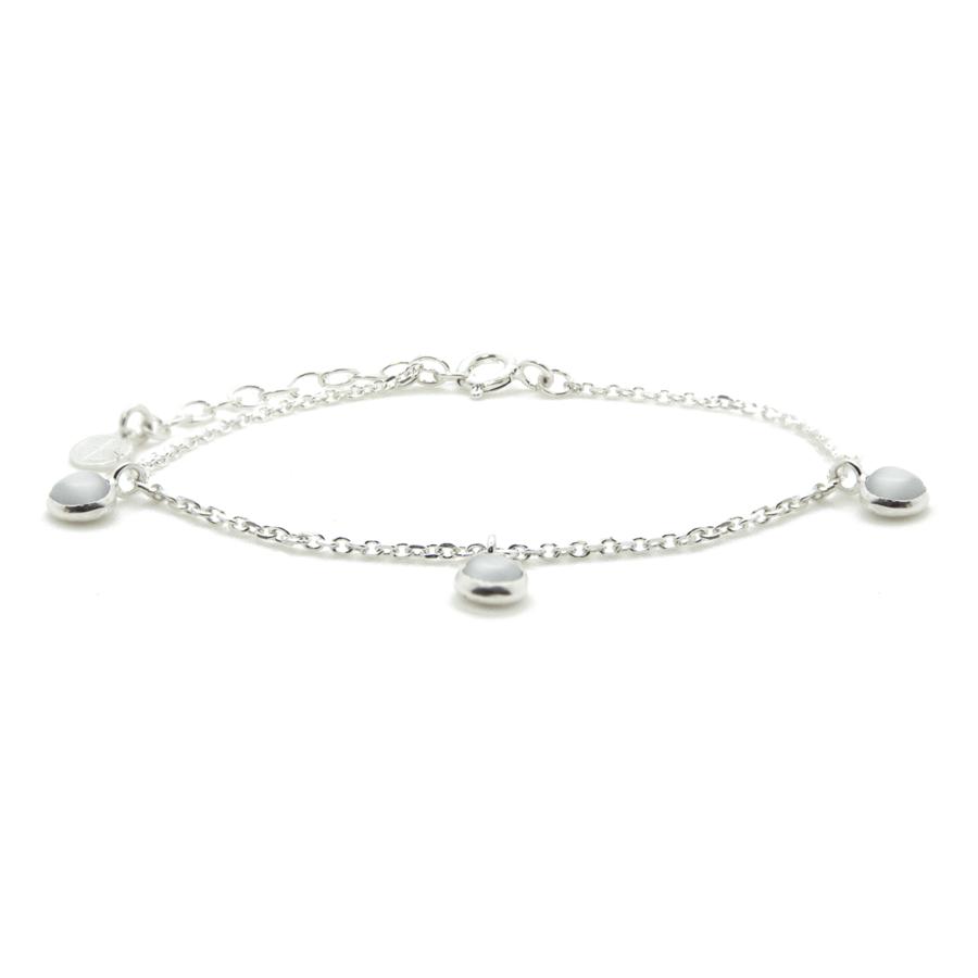 Bracelet argent bijoux pierre quartz gris liberty charms aglaiaco