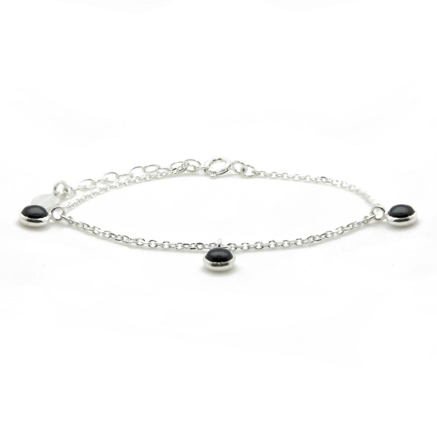 Bracelet argent bijoux pierre onyx liberty charms aglaiaco
