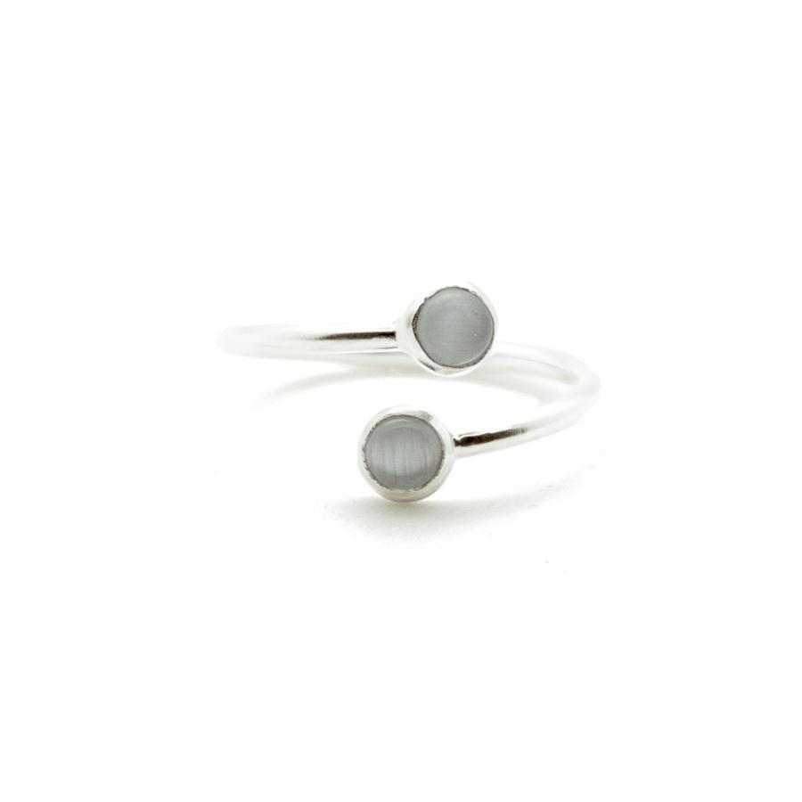 Bague argent bijoux pierre cabochon quartz gris aglaiaco