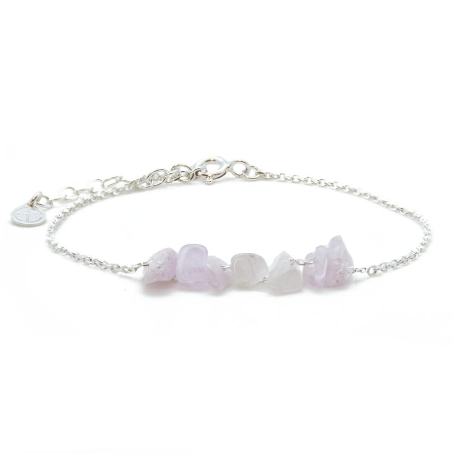 Bracelet argent pierre rose kunzite raw atelier