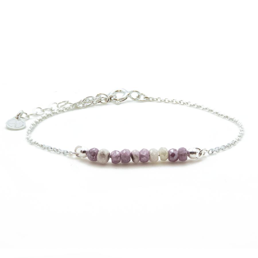 Bracelet rubis argent chaine color atelier