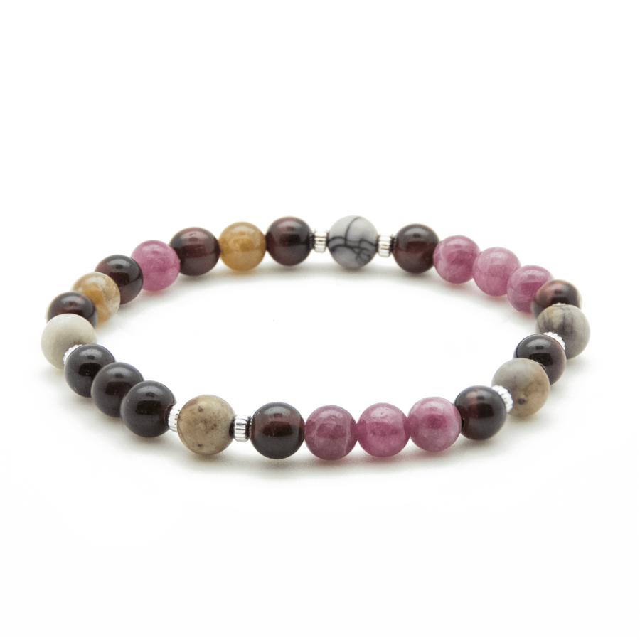 Bracelet argent pierre rose elastique tourmaline wild atelier