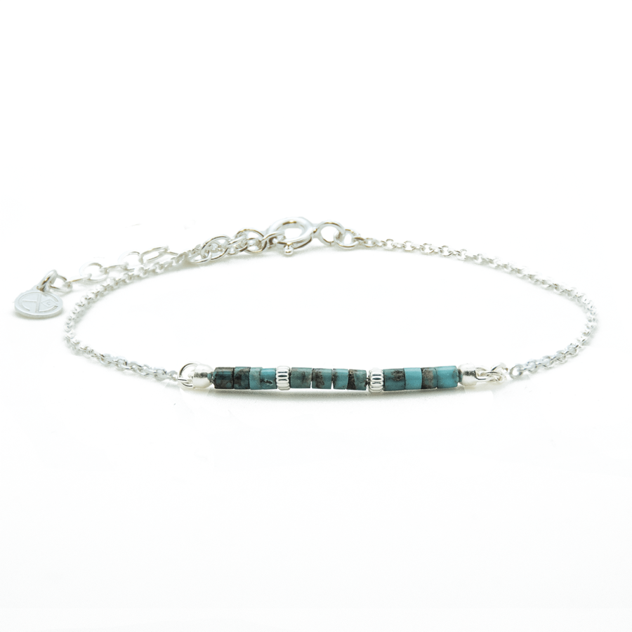 Bracelet argent pierre turquoise gypsy wild aglaiaco