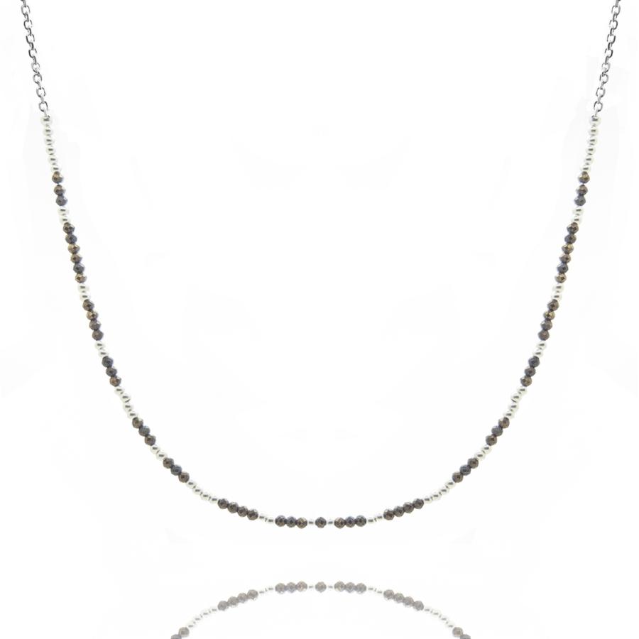Collier argent pierre pyrite gyspisy wild aglaiaco2