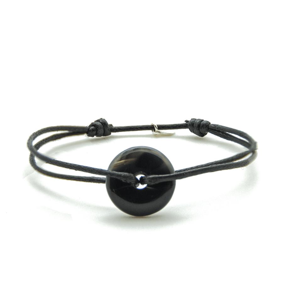 Bracelet cordon pierre onyx gypsy wild aglaiaco