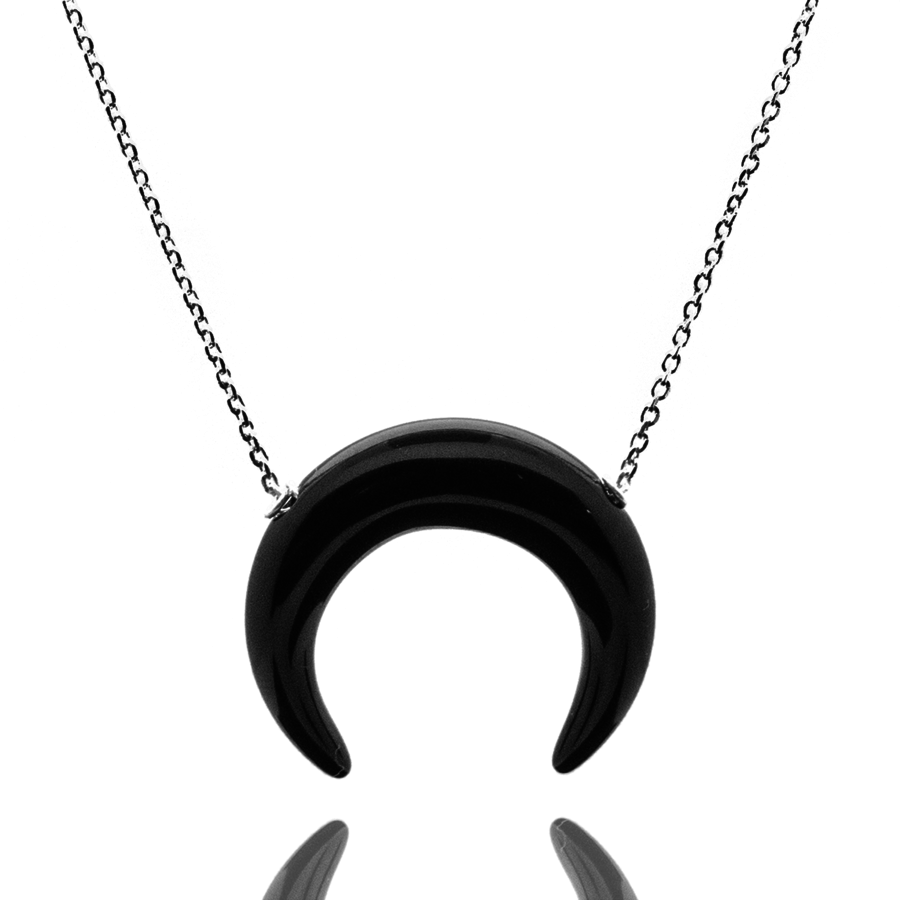 Collier argent lune onyx aglaiaco