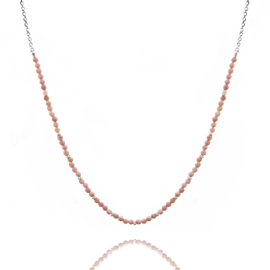 Collier argent pierre rhodonite rose pink lady aglaiaco