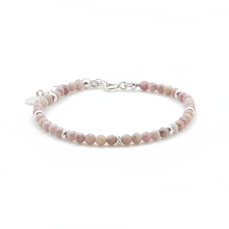 Bracelet argent pierre rhodonite rose pink lady aglaiaco
