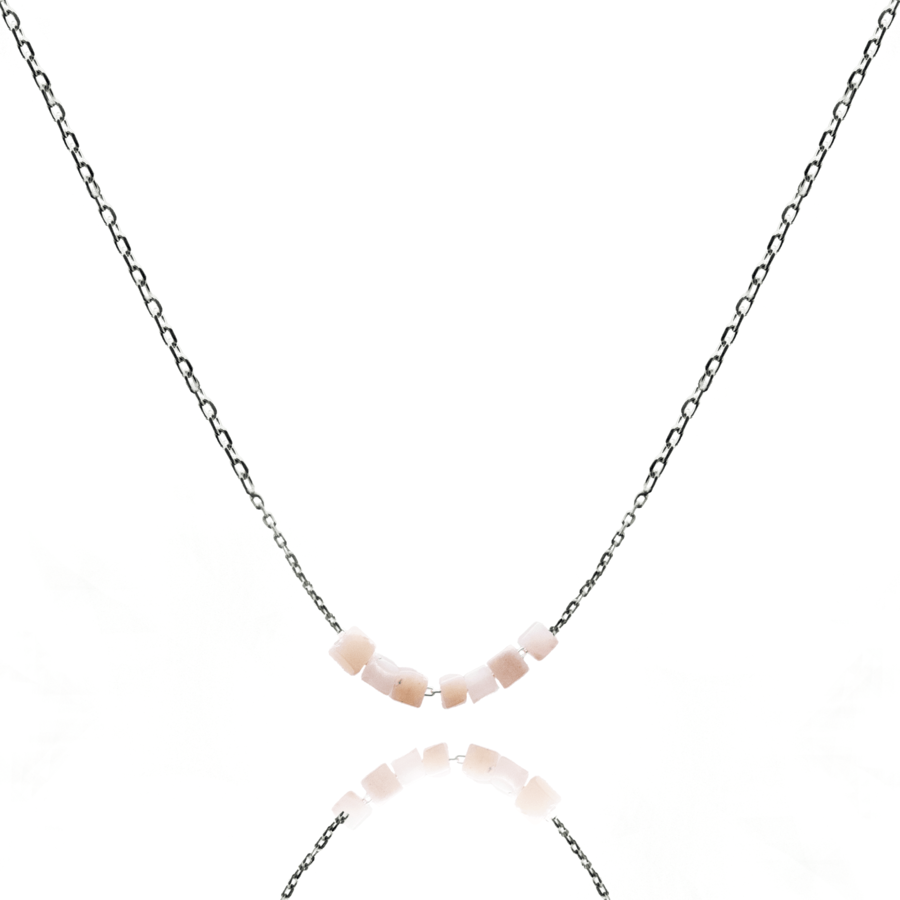 Collier argent rose pierre opale carree pink lady aglaiaco