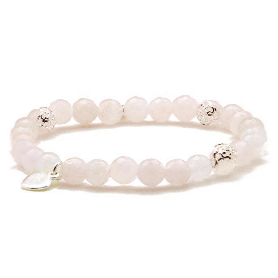 Bracelet argent coeur pierre quartz rose pink lady aglaiaco