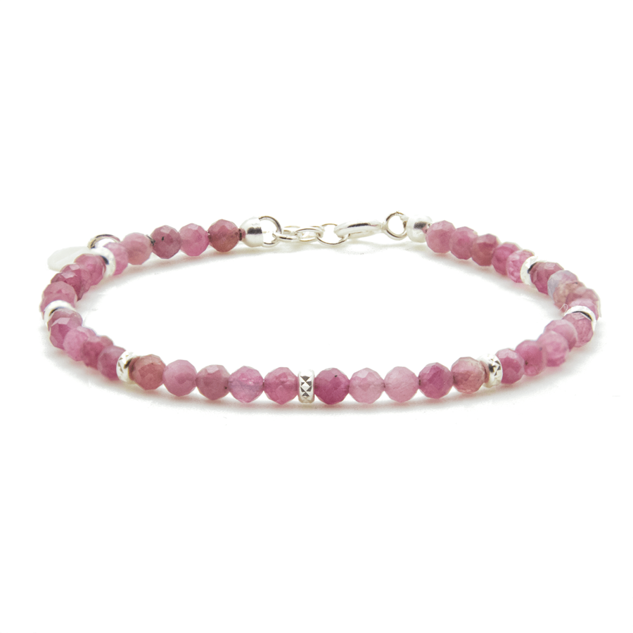 Bracelet argent pierre tourmaline rose pink lady aglaiaco