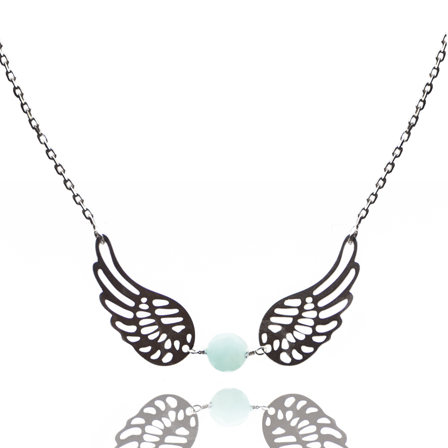 Collier argent amazonite aile ange aglaiaco