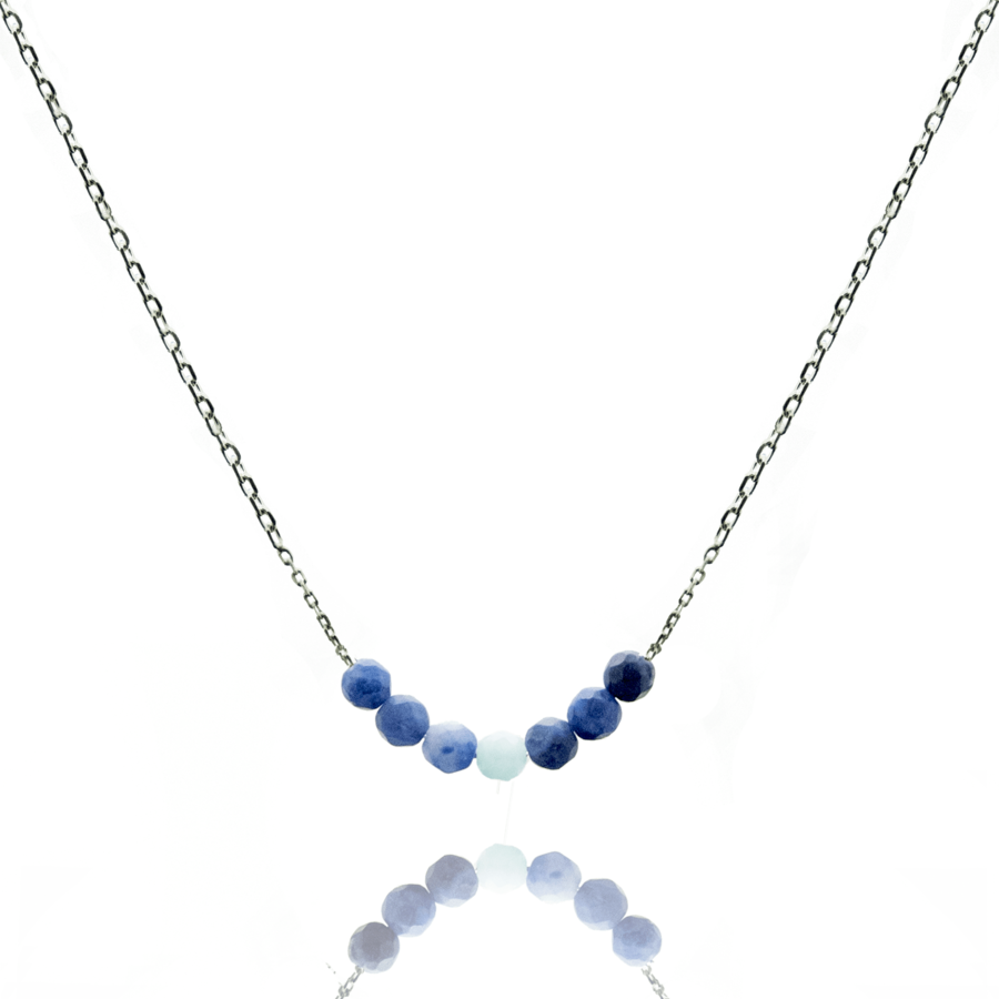 Collier argent pierres sodalite amazonite aile ange aglaiaco