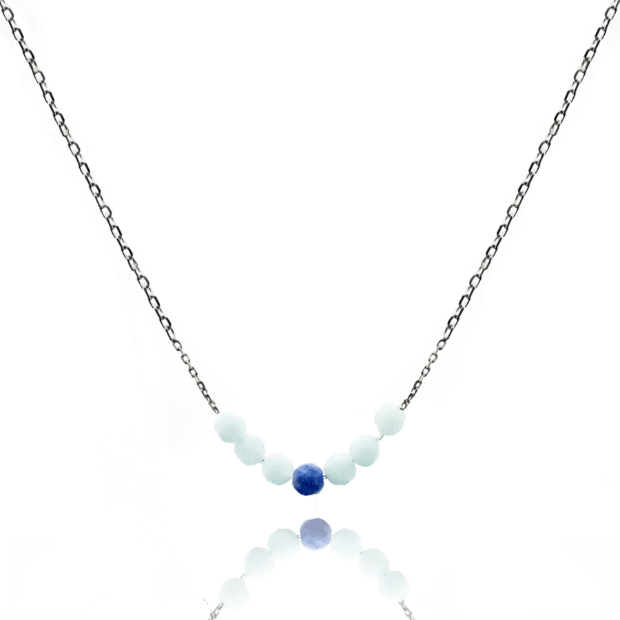 Collier argent pierres amazonite sodalite aile ange aglaiaco