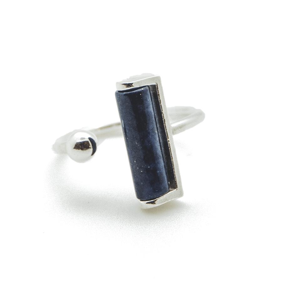 Bague argent lapis lazuli pierre brooklyn aglaiaco