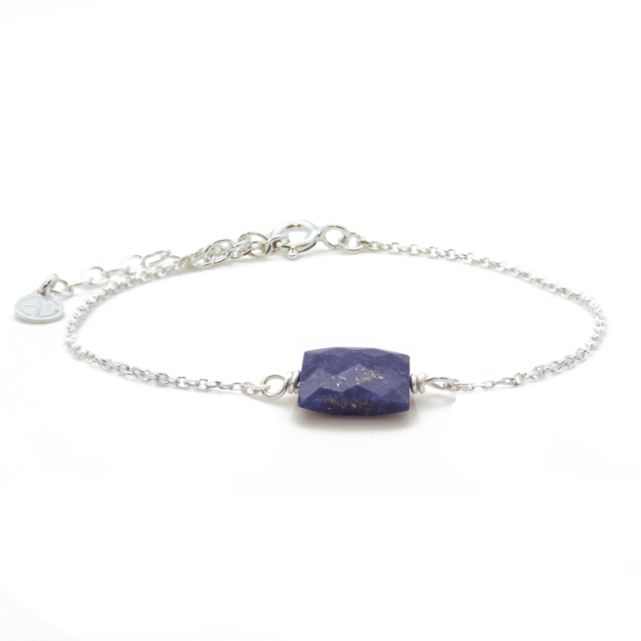 Bracelet lapis lazuli argent chaine rectangle atelier