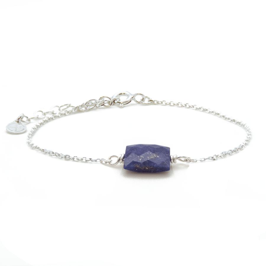 Bracelet lapis lazuli argent chaine rectangle atelier