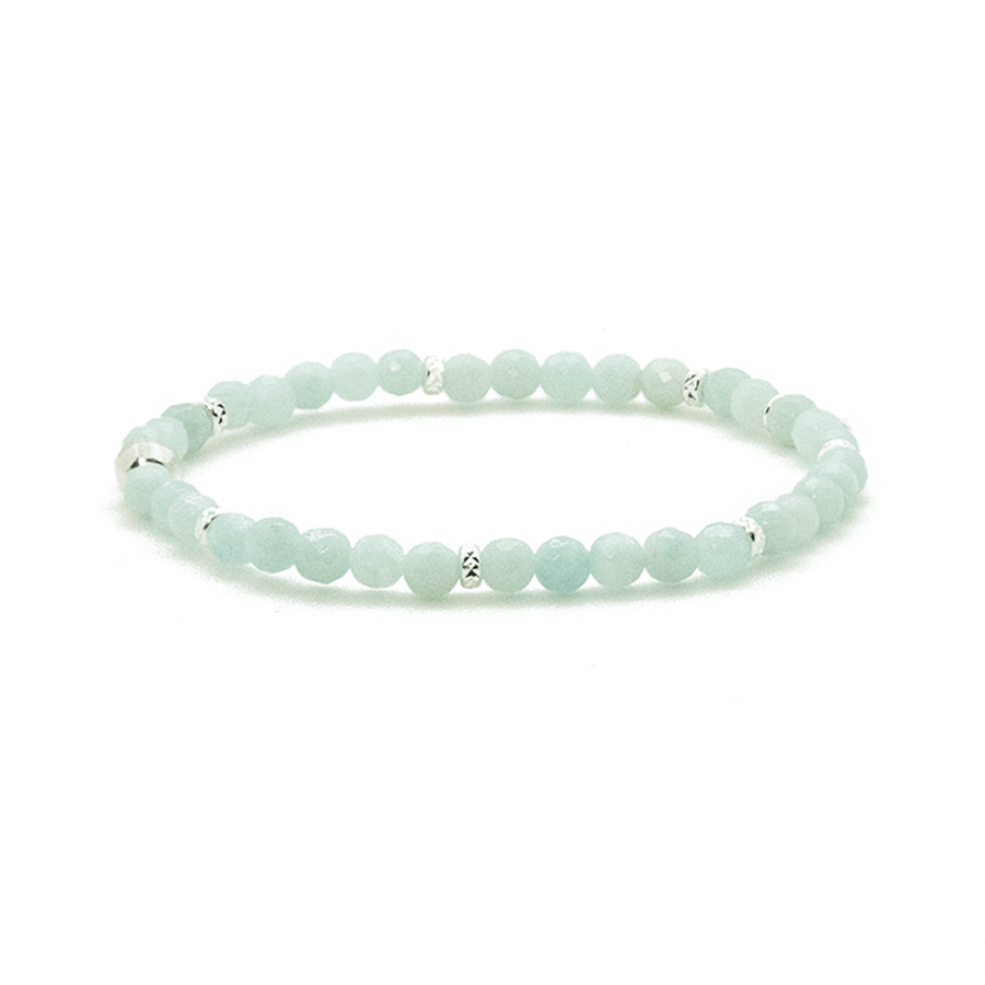 Bracelet elastique argent pierres amazonite aglaiaco