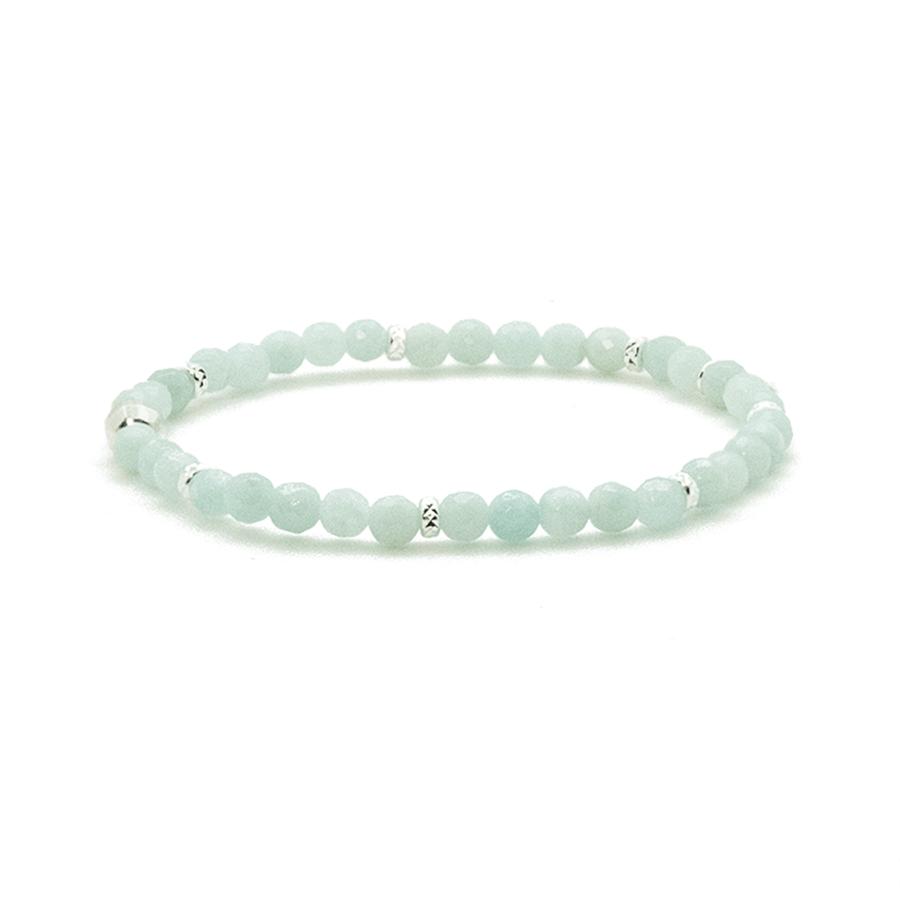 Bracelet elastique argent pierres amazonite aglaiaco