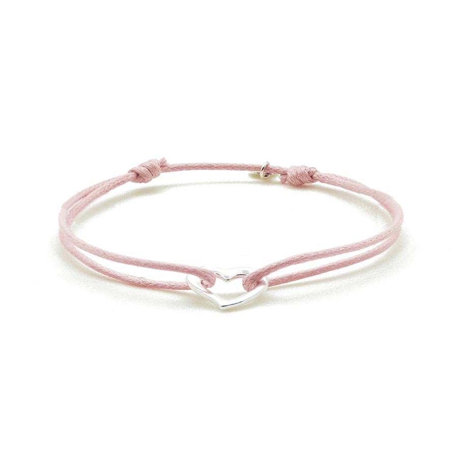 Bracelet argent coeur cordon rose coton pink lady aglaiaco