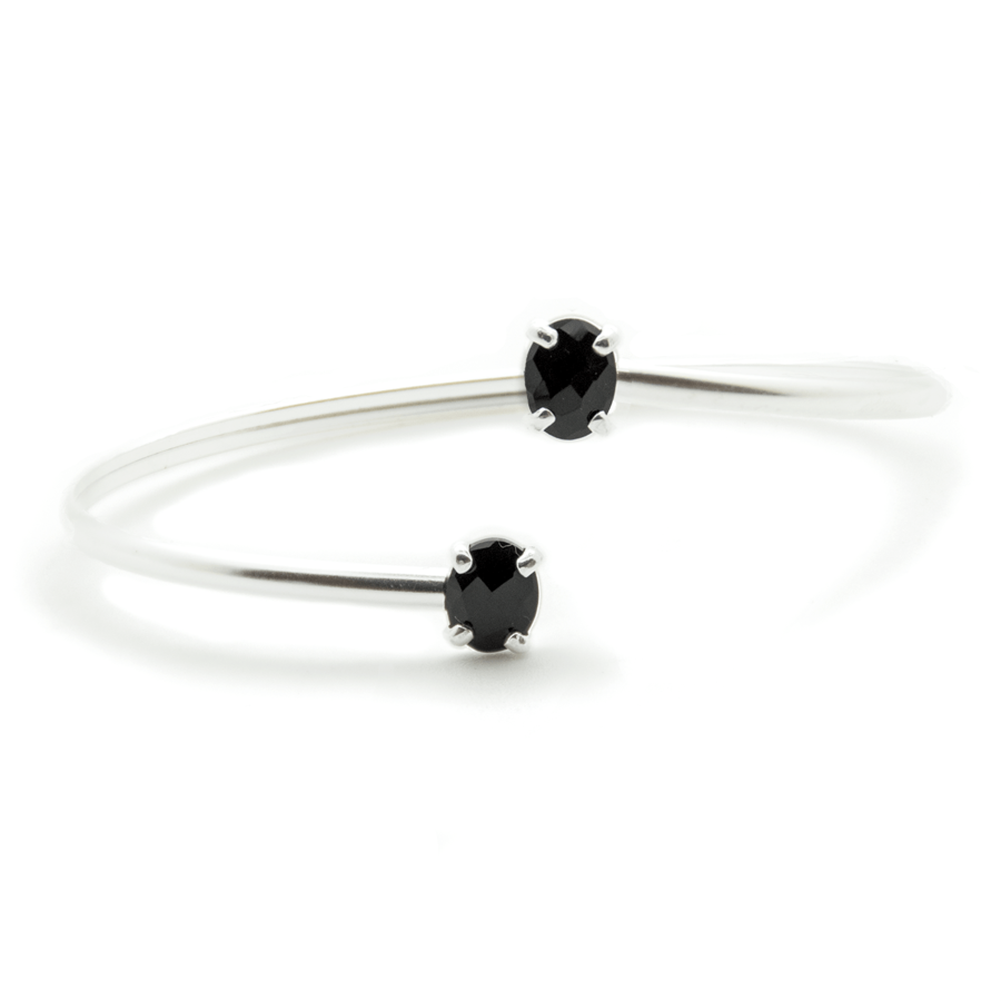 Bracelet jonc argent bijoux pierre onyx aglaiaco