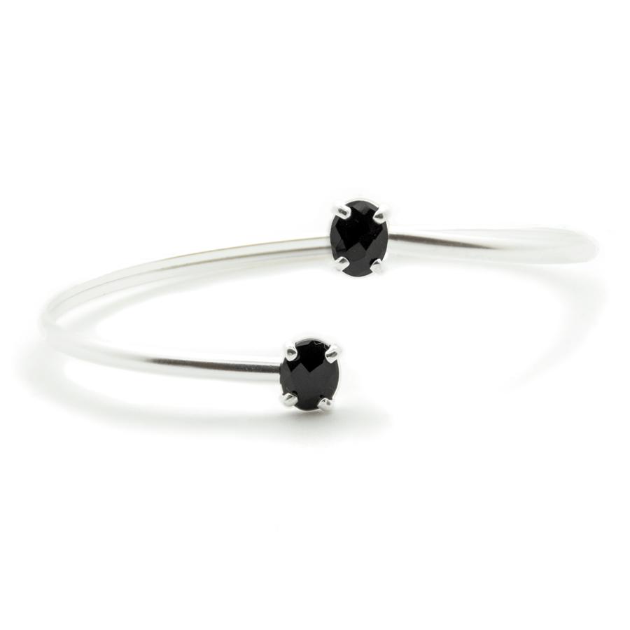 Bracelet jonc argent bijoux pierre onyx aglaiaco