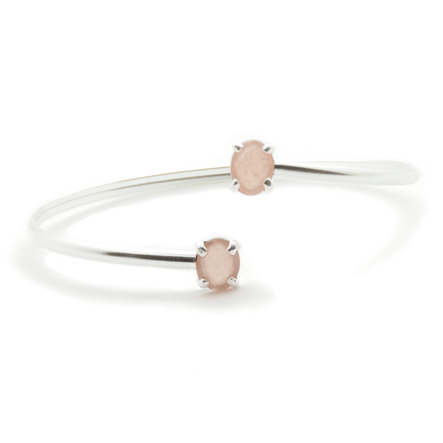 Bracelet jonc argent bijoux pierre lune rose aglaiaco