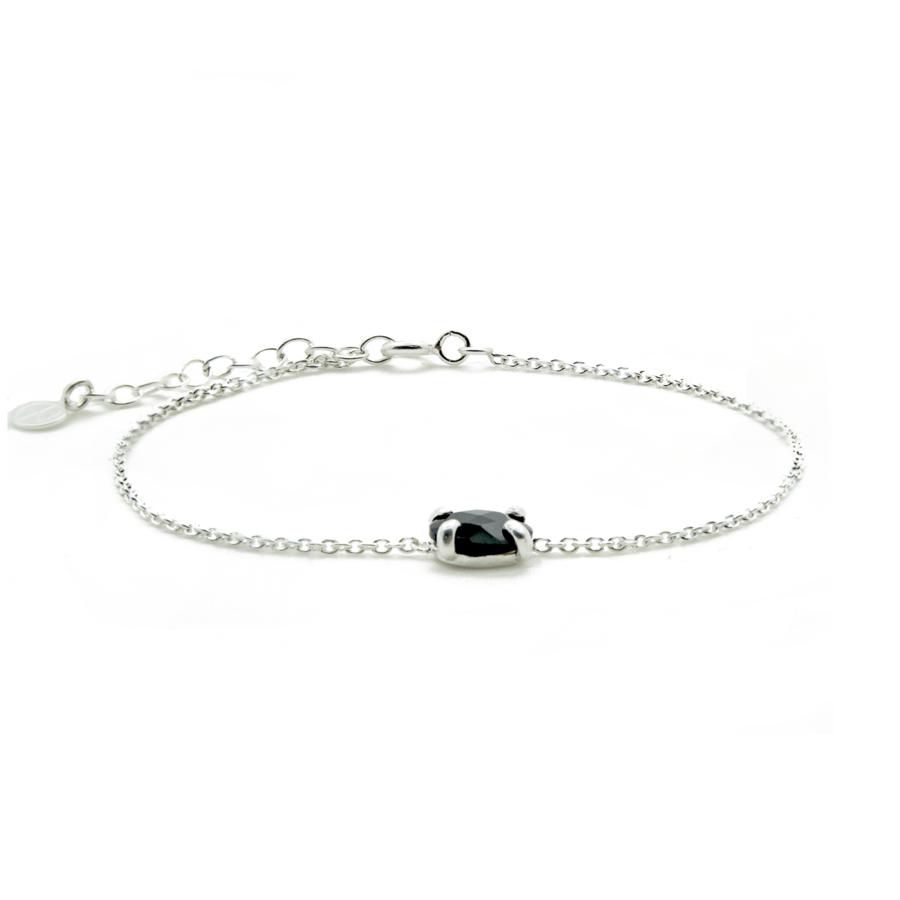 Bracelet argent bijoux pierre onyx aglaiaco
