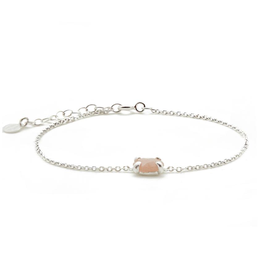 Bracelet argent bijoux pierre rose pierre lune aglaiaco