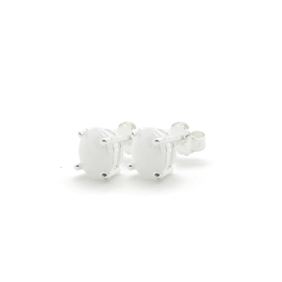 Boucles oreilles puce argent bijoux pierre blanc silverite aglaiaco