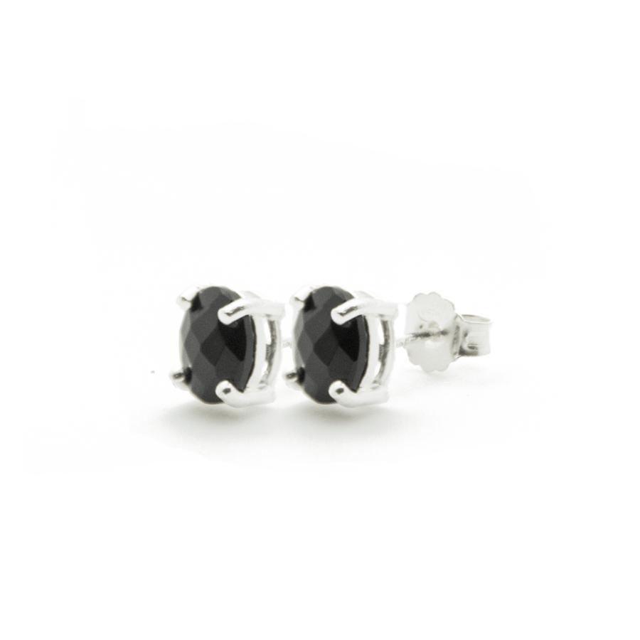 Boucles oreilles puce argent bijoux pierre onyx aglaiaco