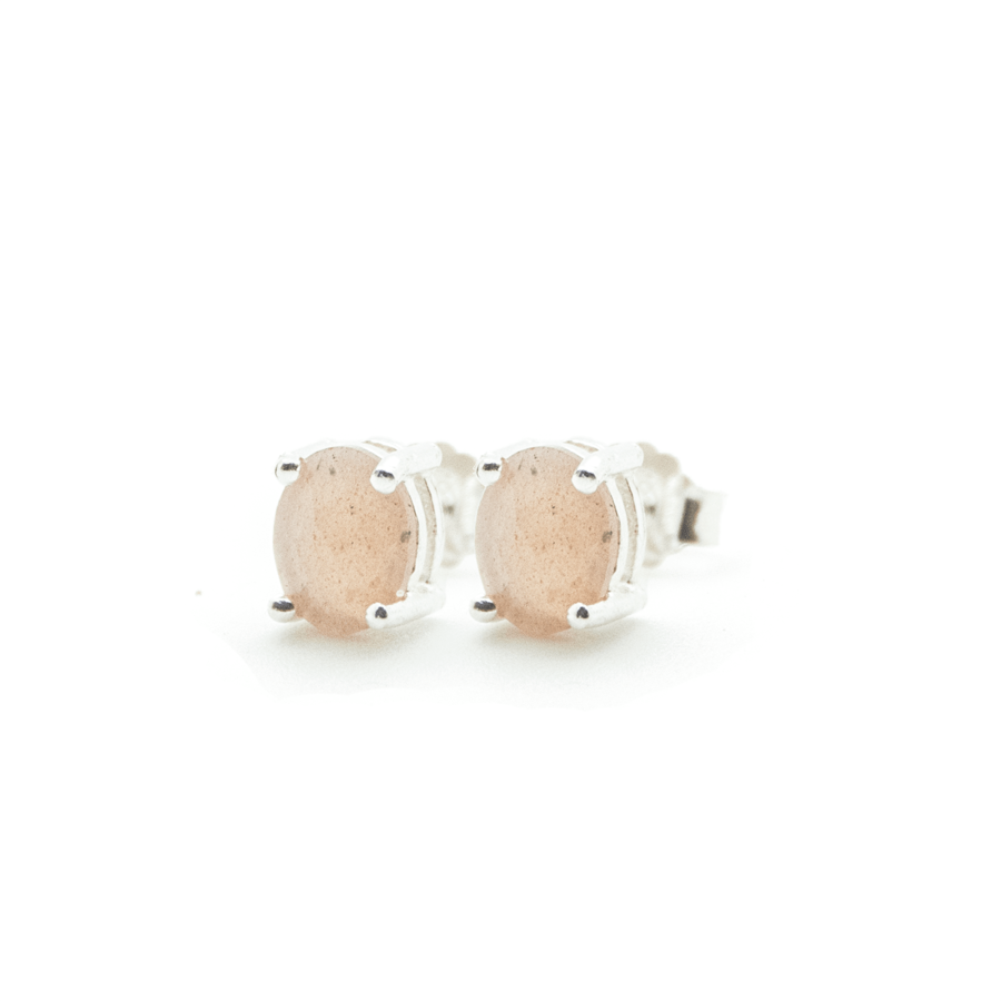 Boucles oreilles puce argent bijoux rose pierre lune aglaiaco