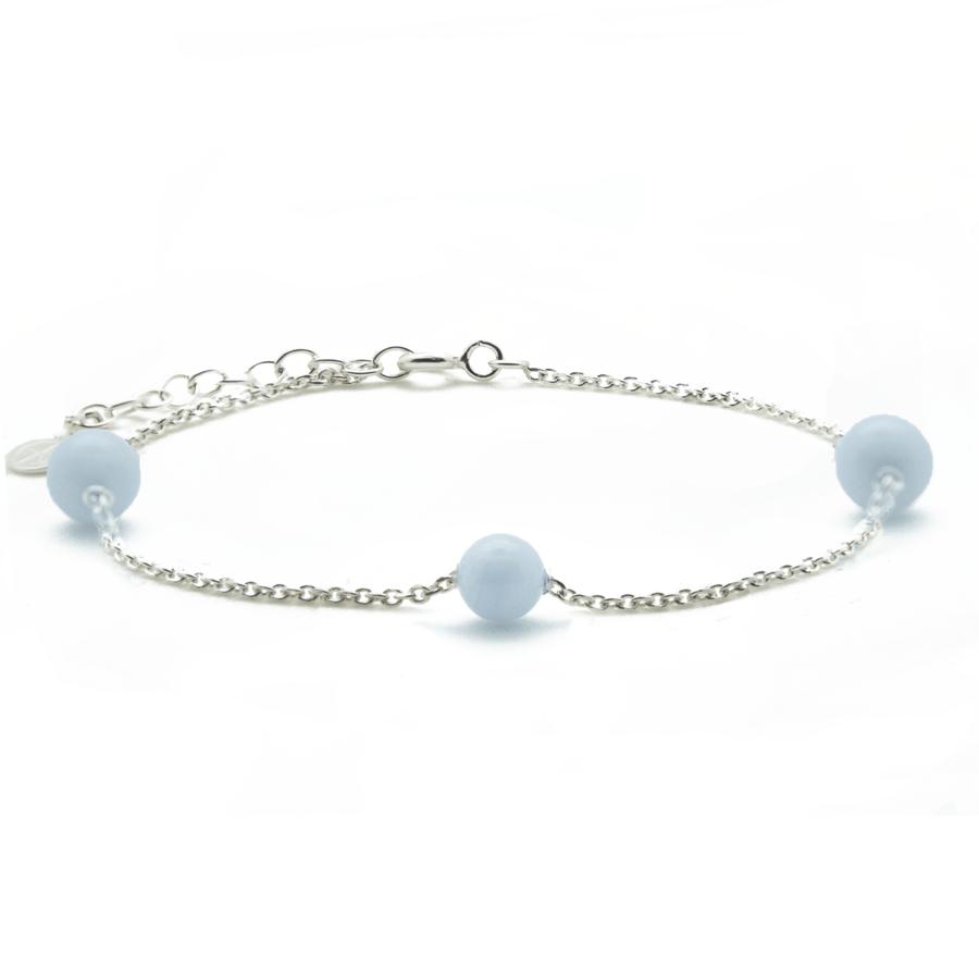 Bracelet calcedoine bleue trois pierres argent chaine atelier