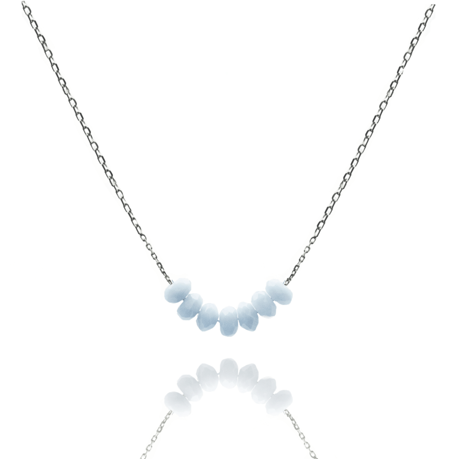 Collier calcedoine bleue multi pierres argent atelier