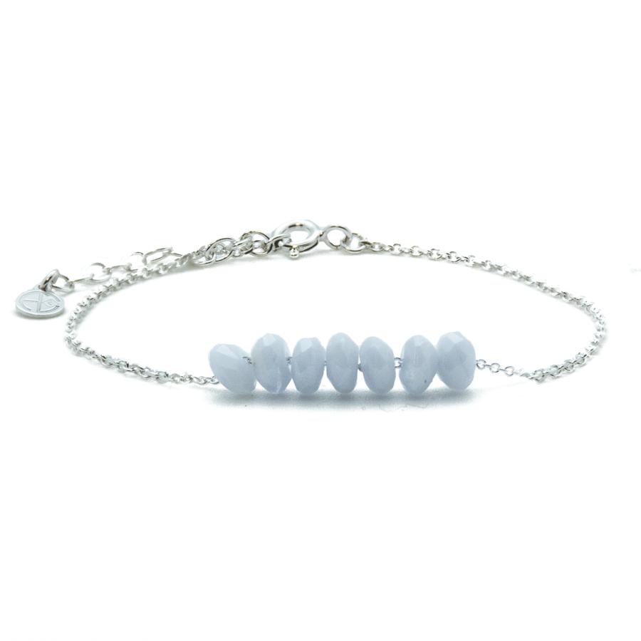 Bracelet calcedoine bleue multi pierres argent chaine atelier