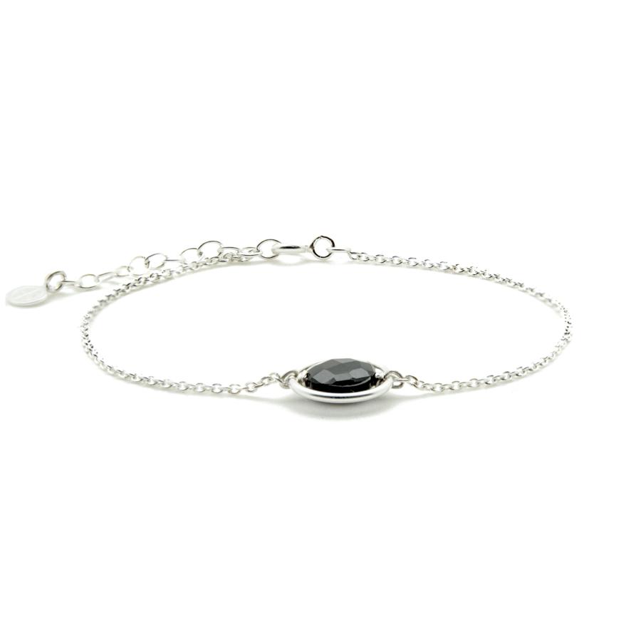 Bracelet argent onyx pierre noire aglaiaco
