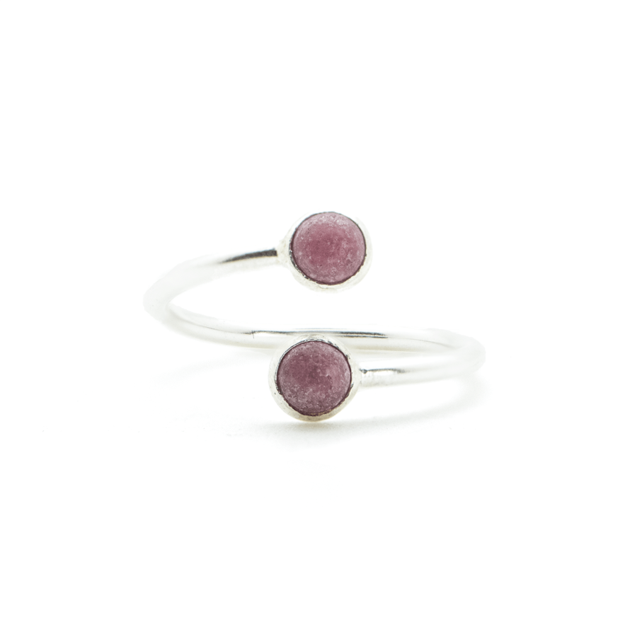Bague argent pierre rhodocrosite rose pink lady aglaiaco