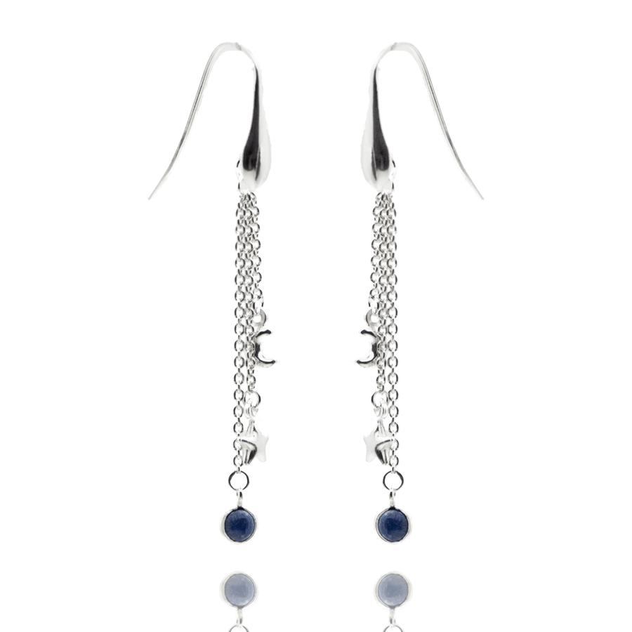 Boucles oreilles lune etoile lapis lazuli aglaiaco