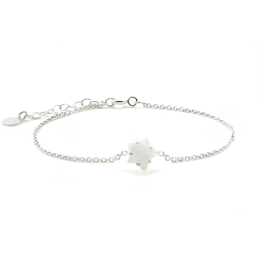 Bracelet argent etoile pierre lune blanc aglaiaco